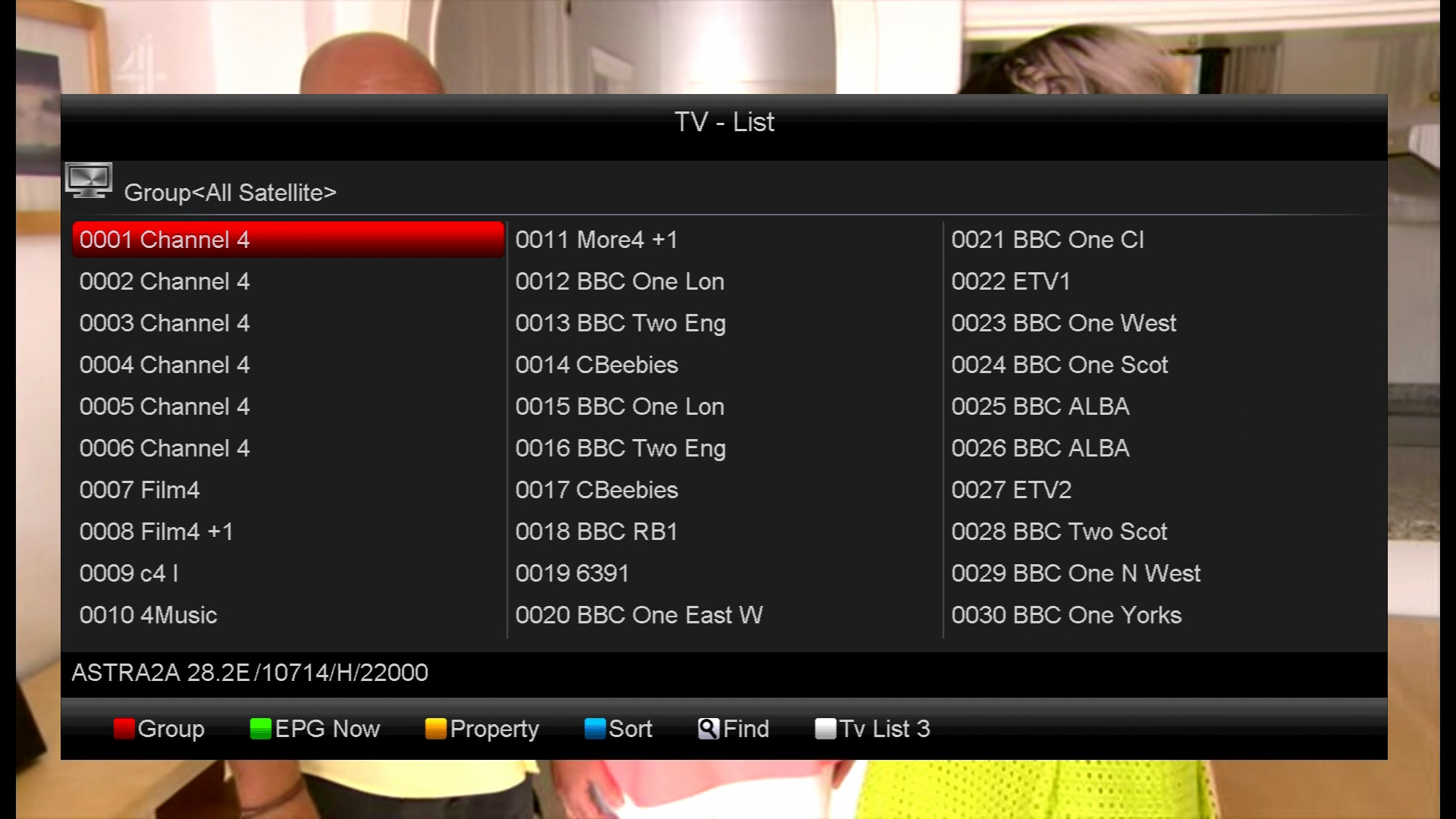 channel list unsorted